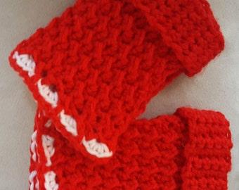 Fingerless Gloves, Gloves, Crochet Gloves,  Womens Gloves, Red Gloves, Red and White Gloves