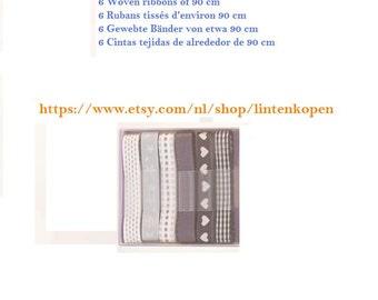 Decoration Ribbons Woven, assortment 6 PCs, approx 90 cm,