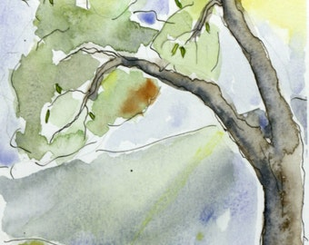 Spring Tree Watercolor Painting Giclée Print
