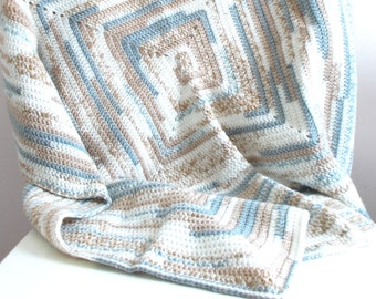 Crochet Blanket - Cream, Grey and Beige - 90cm Square