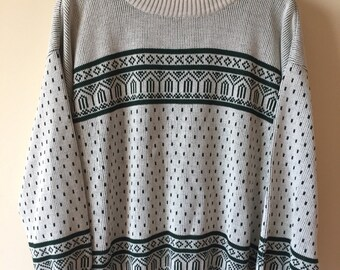 90s White / Green Patterned sweater