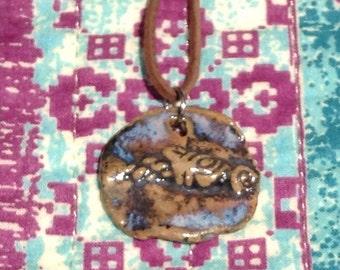 Whimsical Horse handmade ceramic pendant