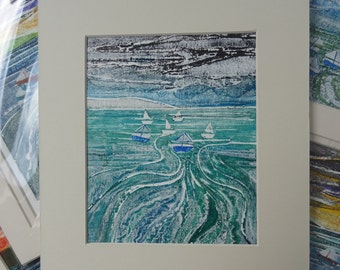 Boats on the sea (Whitby) -Original Collagraph Print