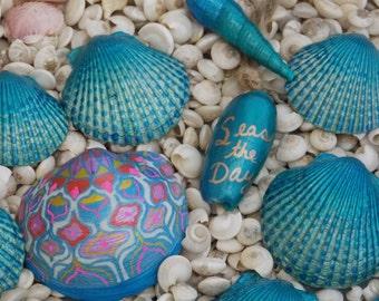 Hand Painted Seashells, Set of 13 Painted Shells, Mermaid Treasure, Seas the Day, Mandala Seashell