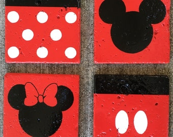 Mickey and Minnie hand painted stone coaster set (4)