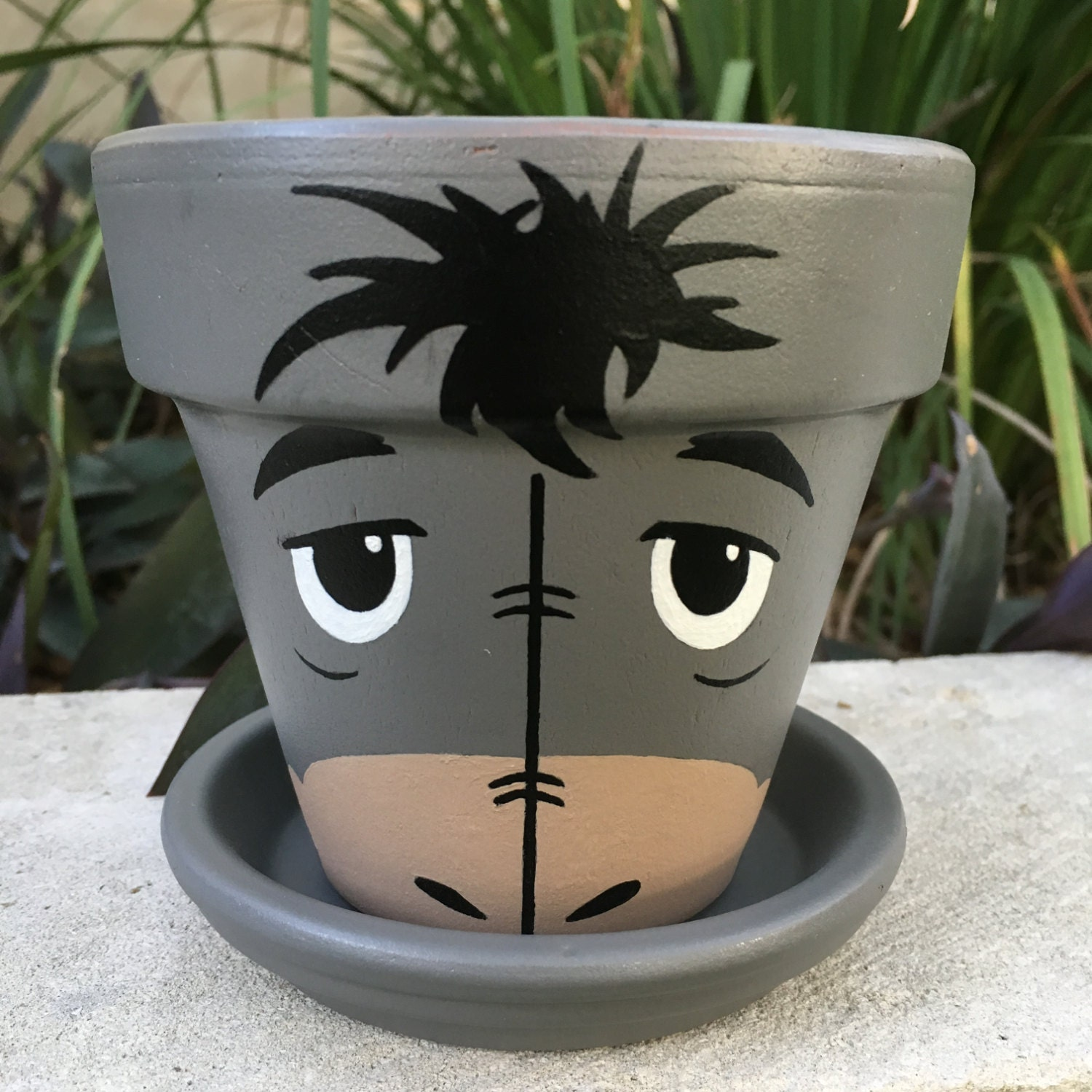 Eeyore inspired hand painted flower pot for Art and craft pot decoration