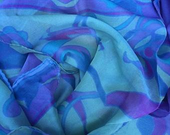 Vintage Floral rectangular sheer scarf, 1980s