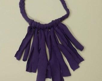 Purple braided fringe necklace