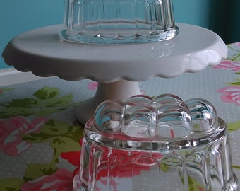 Pair of Clear Pressed Glass Vintage Jelly Moulds