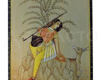 Rajasthani Woman Miniature Painting