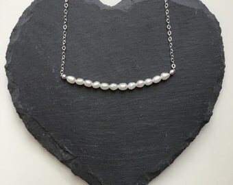 Sterling Silver Pearl Necklace - can be personalised - June Birthstone and perfect for Bridesmaids