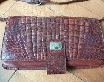 Classic Vintage Crocodile Skin Clutch Bag Leather Detachable Strap Alligator Animal French Tan
