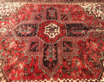 "Vintage Persian Rug, Hand-Knotted Heriz (Red, Brown, Cream) 262cm x 197cm (8'6"" x 6'5"")"