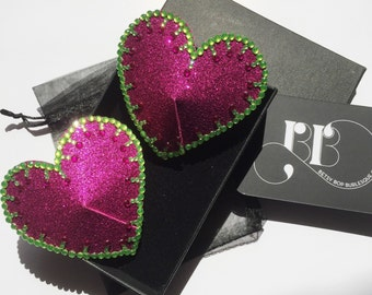 Pink and Green Heart Pasties