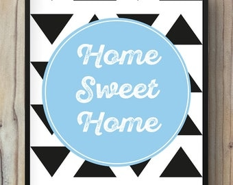 Displays home sweet home print illustration