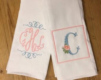 Girl's Monogram/Initial Personalized Burp Cloth