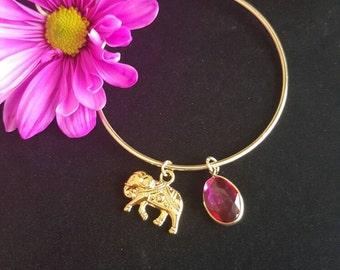 Gold Elephant Charm Bangle