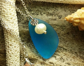Sea glass necklace ,20 inch 925 sterling silver chain,Natural pearl,gift box.beach jewelry.