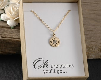 Compass necklace, graduation gift, gold compass necklace, oh the places you'll go, gift boxed card