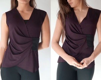 Blouse / Sleeveless Asymmetric Burgundy Top / Flattering Graceful Drape / Unique Urban Maternity Top / Sculpted V-Neck Shirt / Faya Burgundy