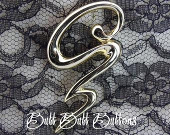 Vintage Gold Squiggle Brooch / Pin