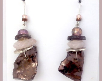 Ceramic Dangle Earrings with Pink Quarz, Hematite and glass beads