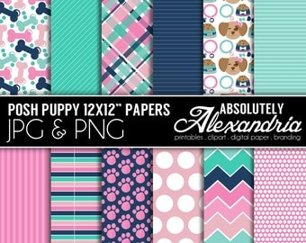 Posh Puppy Digital Papers - Personal & Commercial Use - Puppy Paper, Dog Graphics, Patterns, Pet Scrapbook Page Kit