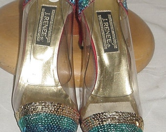 SEQUINED HIGH HEEL Shoes by J Renee size 10m vintage 90's