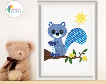 Blue Squirrel Nursery Print -  Nursery Print, Boys Nursery or Girls Nursery - Blue Print - Child's Blue Bedroom Print