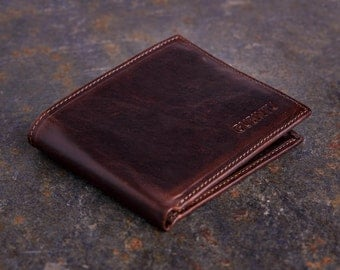 Mens Coffee Brown Cowhide Leather Money Clip Wallet