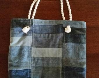 Patchwork Denim Tote Bag