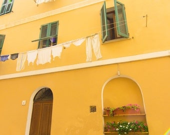 Yellow, Sardinia, Facade, Windows, Flowers, Hanging Laundry, Europe, Travel, Print, Photograph, Wall Art, Fine Art