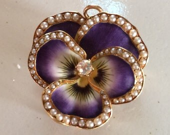 Pansy Pin/Necklace Vintage 1900's 14K diamond & pearls