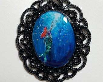 Little Mermaid Hand Painted Pendant Necklace