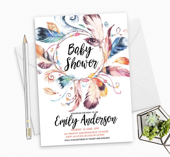 Boho Feathers Baby Shower Invitation Printable - Boho Feathers - Gender Neutral Invite