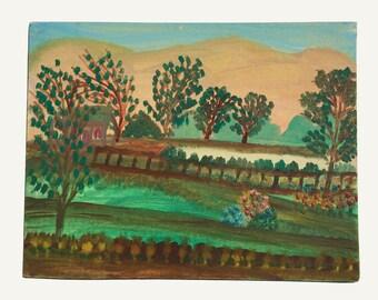 Original landscape painting, vintage artwork, 1950s, schoolhouse, naive art, primitive art