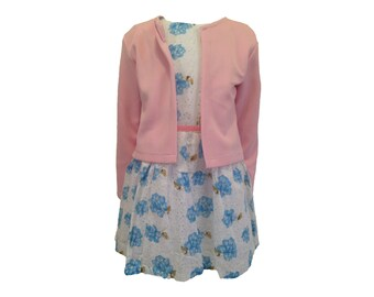 Floral Blue and Pink Cardigan