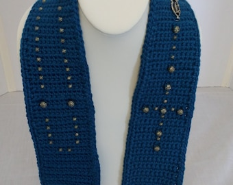 Corn Flower Blue Beaded Rosary Scarf