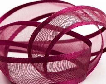 Full 25m Reel Satin Edge Organza Ribbon Ribbon 10mm, 15mm, 25mm, 38mm - Burgundy
