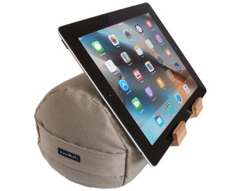 The EZread Tablet Bolster by Swadeshi Yoga - Made in USA - Perfect for Bed - Ergonomical and Eco-Friendly Design    (Crisp Khaki)