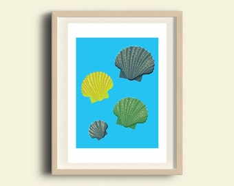 Sea shells art, sea shells home decor, sea life print, sea life art, Printable nautical art, poster home decor, kids room, gift digital art