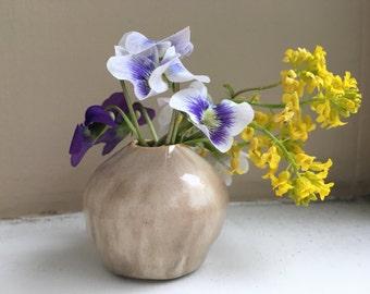 Tiny Handmade Beige Porcelain Bud Vase