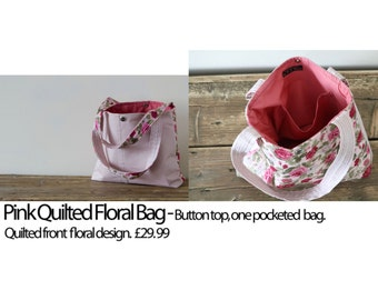 Pink quilted floral bag