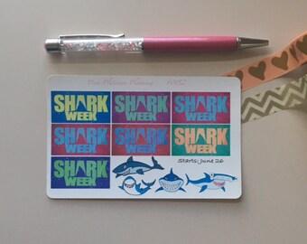 Shark Week Stickers - Sharks - Discovery Channel Stickers - Planner Stickers - Erin Condren - Happy Planner – Filofax - Kikki K
