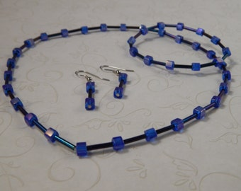 Matching Jewelry Set:  Necklace, Bracelet, and Earrings with Blue and Black Beads