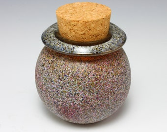 Glass Stash Jar with cork stopper (Speckled finish with folded lip) *Sandblasted Exterior*
