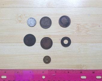 A Set of 6 Antique British India Coins + one bonus coin