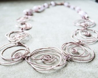 Handmade Rose Gold Filled Wire-Wrapped Beads and Venezian Glass Beads Choker Necklace