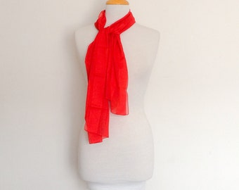 1970s Red Long Scarf Vintage