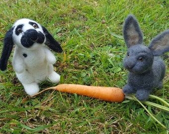 Needle felted custom made rabbits